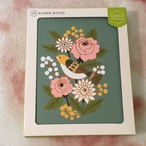 Birds & Bouquet Note Card Set of 10 NWT